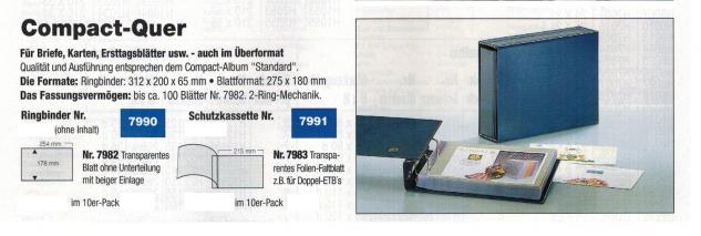 SAFE 7990 Compact-Quer Ringbinder Album Standard Blau 312x200x65 mm (leer) zum selbstbefüllen Für ETB, Briefe, FDC, Postkarten - Vorschau 2