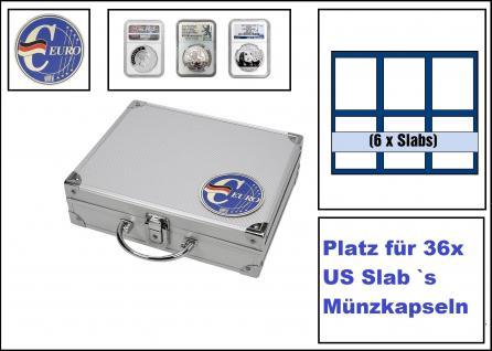 SAFE 279-8 ALU Münzkoffer SMART Deutschland 3D Plakette + 6x 6373 Tableaus mit 6 rechteckingen Fächern ca. 63x85 mm Für 36 original US Slab's Münzkapseln