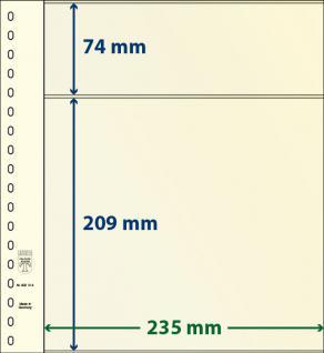 10 x LINDNER 802214P T-Blanko-Blätter Blankoblatt 18-Ring Lochung - 2 Taschen 74 / 209 x 235 mm