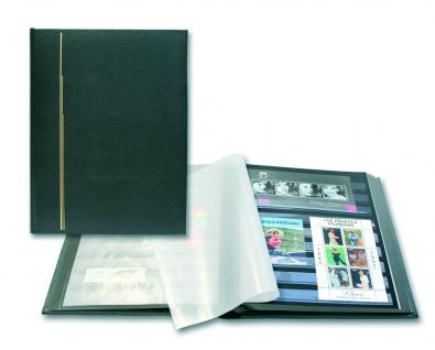 SAFE 120 Briefmarken Leder Einsteckbücher Einsteckbuch Album Luxus Schwarz 32 schwarze Seiten