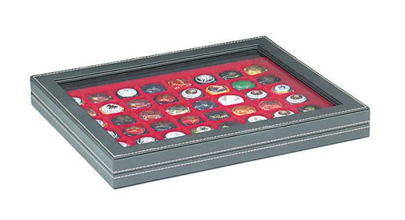 LINDNER 2367-2148E Nera M PLUS Münzkassetten Einlage Hellrot Rot mit glasklarem Sichtfenster 48 Fächer für Münzen bis 30 x 30 mm - 5 DM Euro Mark DDR