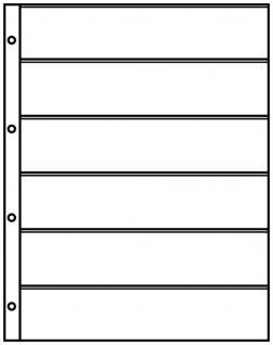 1 x LINDNER 4106 Einsteckhüllen Ergänzungsblätter Publica L A4 6 Taschen / Streifen schwarz 47 x 220 mm Für Briefmarken - Vorschau 2