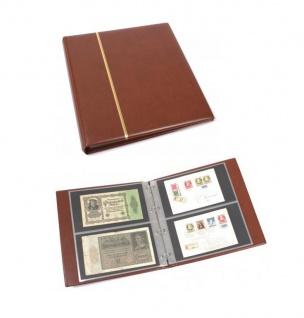 KOBRA G12S Braun Universal Skai Ringalbum Ringbinder Album im Großformat mit 20 Blättern G12E für 80 Ganzsachen Postkarten Briefe Banknoten