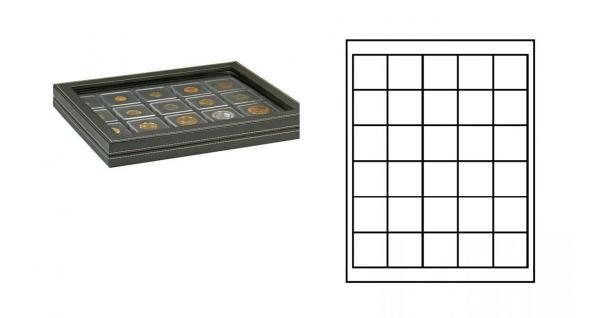 LINDNER 2367-2115CE Nera M PLUS Münzkassetten Einlage Carbo Schwarz mit glasklarem Sichtfenster 30 Fächer für Münzen bis 38x 38 mm - Kanada Dollar Maple Leaf