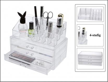 SAFE 73840 Design Acryl Kosmetik- & Schmuck Organizer Kassette 2 teilig mit 3 Schubeladen & 4 stufiger Kosmetik-Treppe mit 16 Fächern