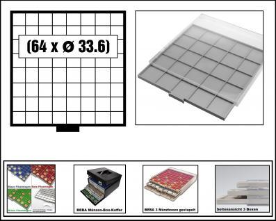 SAFE 6608 BEBA MÜNZBOXEN Standard Grau 64 quadratische Fächer 33, 6 mm Für 5 - 10 DM - 5 Euro Blauer Planet Erde / Klimazonen 5 - 10 - 20 Mark DDR - 10 - 20 EURO Deutschland
