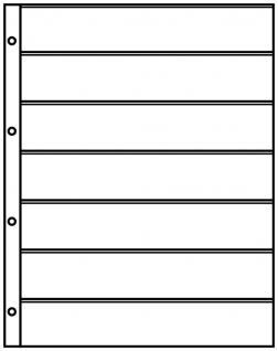 1 x LINDNER 4107 Einsteckhüllen Ergänzungsblätter Publica L A4 7 Taschen / Streifen schwarz 40 x 220 mm Für Briefmarken - Vorschau 2