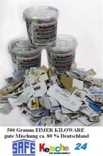 Briefmarken Kiloware 500 Gramm Eimer ca80% Deutschl - Vorschau