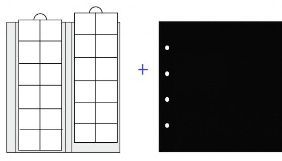 2 x SAFE 7392 Premium Ergänzungsblätter Münzhüllen Münzblätter 24 Fächer x 34 mm + schwarze ZWL Ideal für 5 - 10 Euro DM - 20 Mark