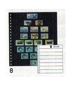 10 x LINDNER 08P Omnia Einsteckblätter schwarz 8 Streifen x 30 mm Streifenhöhe