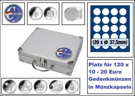 SAFE 279-6 ALU Münzkoffer SMART Deutschland 3D Plakette + 6x 6337 Tableaus mit 20 Runden Fächern Für 120 Münzen Ideal für 10 - 20 Euro Gedenkmünzen in Münzkapseln 32, 5 mm PP randlos
