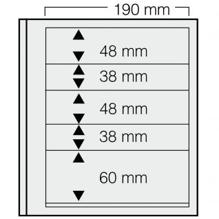 5 x SAFE 605 dual Blankoblätter Einsteckblätter Ergänzungsblätter mit je 2 Taschen 190x48 & 2 Taschen 190x38 mm & 1 Tasche 190x60 mm Für Briefmarken Banknoten Postkarten Briefe - Vorschau 1