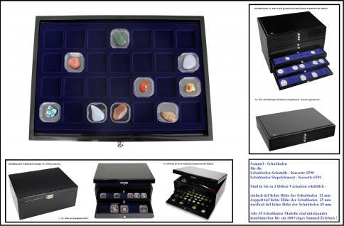 SAFE 5904-3 Schwarze Schubladen dreifach tief 49 mm mit blauer Einlage 28 Fächer 40 x 40 x 25 mm Ideal für kleine Schwebedosen & Mineralien & Bernstein & Fossilien & Bernstein