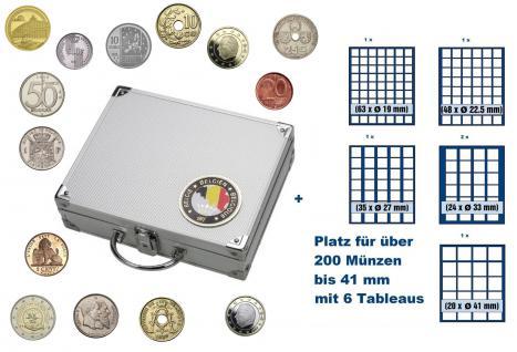 SAFE 239 STANDARD ALU Länder Münzkoffer SMART Belgien / Belgique / Belgie / Belgium mit 6 Tableaus Mix für über 200 Münzen bis 41 mm