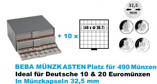 SAFE 6159 Beba Münzkasten mit 10 Schubern 6107 Platz für 490 Münzen bis 38, 7 mm - Ideal für Deutsche 10 - 20 Euromünzen Gedenkmünzen Sondermünzen in Münzkapseln 32, 5 mm