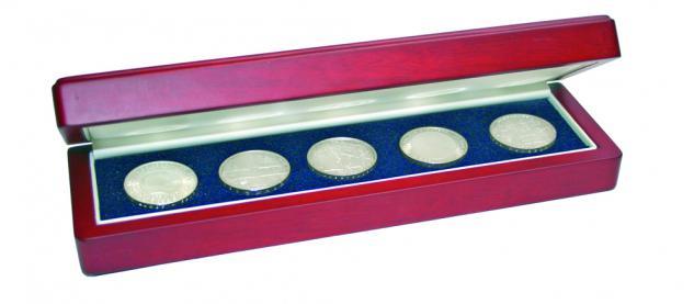 SAFE 7911 Holz Münzetui Mahagonifarbend für Deutsche 5 x 5 Euro Blauer Planet Erde Gedenkmünzen 2016 A D F G J Set's