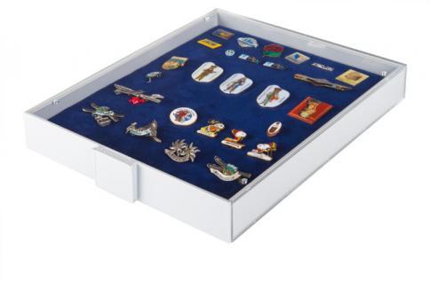 Lindner 2417 Sammelbox Standard Rot - Militaria Orden Abzeichen Pins Button Anstecknadeln - Vorschau 2