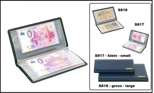 Lindner S817 Blau Banknoten Taschenalbum Banknotenalbum Klein bis 175x85 mmtenalbum mit 20 glasklaren Kunststoff Hüllen