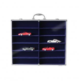 SAFE 5775 Alu Sammelvitrinen Vitrinen Setzkasten MAXI mit 12 Fächern in blau Für Mini Trucks LKW Modellbau KFZ Autos