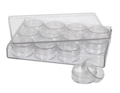 SAFE 5261 Transparente Kleinboxen Setzkasten Kunststoff Universal mit Deckel & 12 Runden Dosen 35 mm Höhe 17 mm