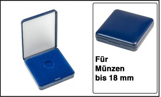 Lindner 2029-018 Blaues Kunststoff Münzetui mit blauer Veloureinlage Für Münzen bis 18 mm