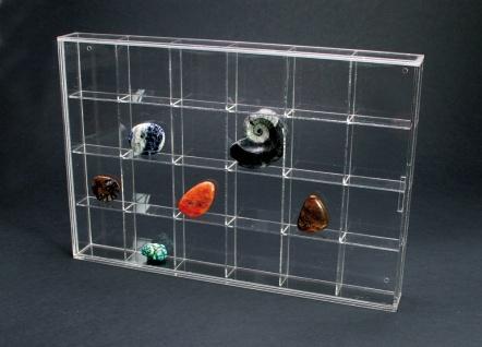 SAFE 5259 ACRYL Sammelvitrinen Kleinvitrinen Setzkasten 24 Fächern 56 mm Höhe Ideal für Mineralien - Fossilien - Bernstein - Kristalle - Muscheln - Schnecken