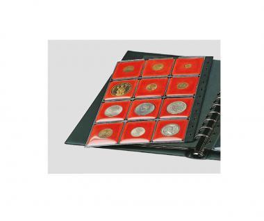 1 x SAFE 772 COIN N Ergänzungsblätter Münzblätter + 12 rote Patent Münzrähmchen für Münzen von 14 - 47 mm