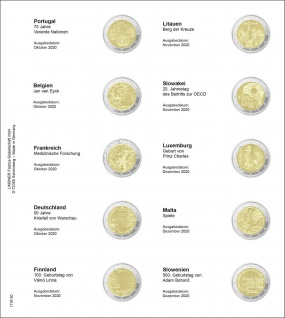 1 x LINDNER 1118-30 Vordruckblatt + K3 Karat Blatt Münzblatt Münzhüllen 2 EURO Gedenkmünzen Portugal - Slowenien 2020