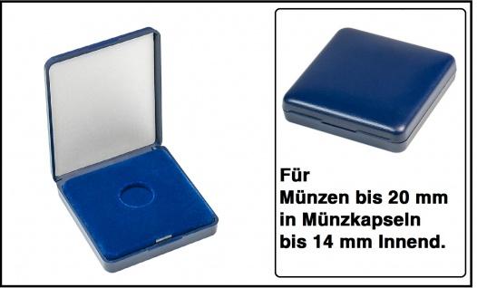 Lindner 2029-020 Blaues Kunststoff Münzetui mit blauer Veloureinlage Für Münzen / Münzkapseln bis 20 mm