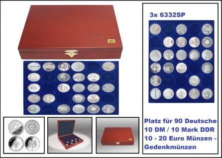 SAFE 5896 Elegance Holz Münzkassetten mahagonifarbend 3 Tableaus 6332SP 90 runde Fächer 32, 5 mm Für 10 - 20 Euro / 10 DM / 10 Mark DDR Deutschland Gedenkmünzen