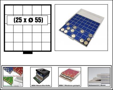 SAFE 6605-4 BEBA MÜNZBOXEN 25 quadratische Fächer 55 mm + blaue Filzeinlagen Für Münzrähmchen Standard 50x50 mm Ideal für US Silver Eagle in Münzkapseln