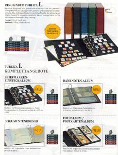LINDNER 3506B - B - Blau Publica L Ringbinder Album Einsteckalbum + 20 Einsteckhüllen 4107 mit 7 Streifen - 4108 mit 8 Streifen Mixed Für Briefmarken - Vorschau 2
