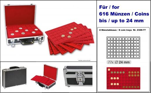LINDNER 2338-616 MÜNZKOFFER im schwarzen Alu Design + 8 roten Tableaus 2329-77 für 616 Münzen