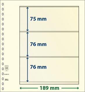 1 x LINDNER 802310 T-Blanko-Blätter Blankoblatt 18-Ring Lochung - 3 Taschen 75 / 76 / 76 x 189 mm