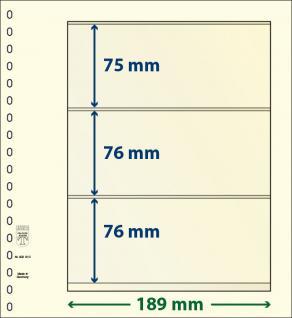 10 x LINDNER 802310P T-Blanko-Blätter Blankoblatt 18-Ring Lochung - 3 Taschen 75 / 76 / 76 x 189 mm