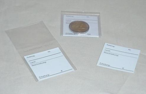 100 KOBRA FT2 glasklare Doppel-Münztaschen Münzhüllen 100 x 50 mm + 100 Beschriftungsschildchen Münzkarten