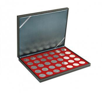 LINDNER 2364-2711E Nera M Münzkassetten Einlage Dunkelroter Rot 35 x Münzen 32, 50mm für 10 & 20 Euro / DM / 10 & 20 Mark DDR