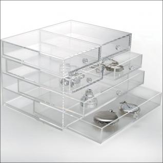 SAFE 5262 Acrylglas Design Schmuckkästchen Schubladen Element Kasten mit 4 Ebenen - Ideal Für Uhren Schmuck Ketten Ringe Ohrringe B 165 x L 215 x H 100