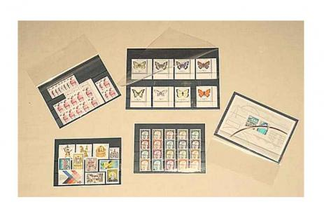 100 x C6 KOBRA VF3 Einsteckkarten Steckkarten Klemmkarten mit 3 Streifen + Folienschutzblatt für Briefmarken - Vorschau 2