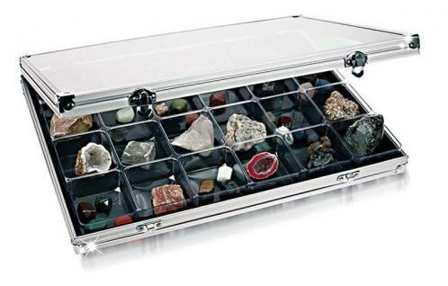 Lindner 4890-24 ALU Sammelvitrinen Vitrinen Setzkasten mit 24 Fächern 68 x 58 mm Ideal für Mineralien