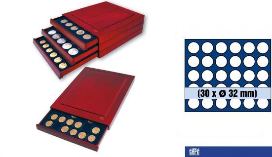 SAFE 6834 Nova Exquisite Holz Münzboxen Schubladenelement 30 Runde Fächer x 32 mm Ideal für 2 EURO Münzen in Münzkapseln 26