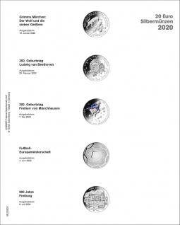 1 x LINDNER MU20E20 Multi Collect Münzblätter Münzhüllen Vordruckblatt Deutsche 20 Euro Gedenkmünzen 2020