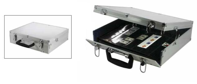SAFE 208 Alu Compact A4 Ringkassette Sammelkoffer 4 Ring-Mechanik (leer) - Platz für bis zu 60 Einsteckblätter - Ergänzungsblätter Für Münzen Briefmarken Postkarten