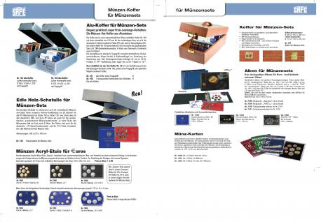 SAFE 7900 Glasklare Stapelbare Acryl Münzetuis Münzenetuis Münz Etuis Vista Libra Blau für 6 x 10 - 20 Euro 10 DM Mark Münzen Gedenkmünzen - Vorschau 2