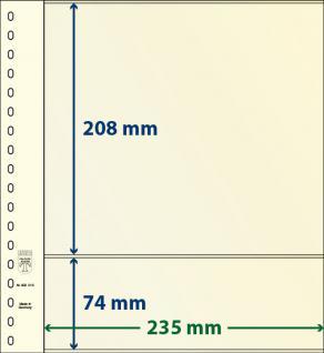 10 x LINDNER 802213P T-Blanko-Blätter Blankoblatt 18-Ring Lochung - 2 Taschen 208 / 74 x 235 mm