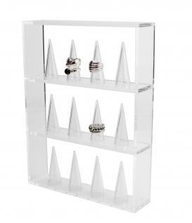 SAFE 5267 Design Acryl Rahmen Schmuckständer mit 12 Ringhaltern für Ringe aller Art Gold Silber Platin Modeschmuck