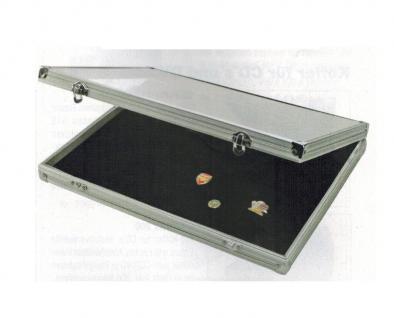 SAFE 5882 ALU Sammelvitrine Vitrinen mit schwarzer Samteinlage Für Pin's Button Anstecknadeln