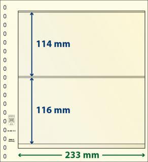 1 x LINDNER 802212 T-Blanko-Blätter Blankoblatt 18-Ring Lochung - 2 Taschen 114 / 116 x 233 mm