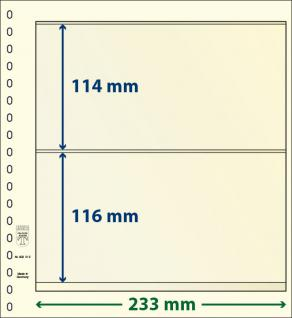 10 x LINDNER 802212P T-Blanko-Blätter Blankoblatt 18-Ring Lochung - 2 Taschen 114 / 116 x 233 mm