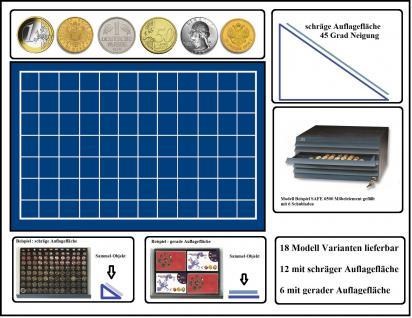 SAFE 6525 Schubladen für SAFE 6500 mit schräger Auflagefläche blaue Einlage 84 eckige Fächer 25 mm - Ideal für 20 Gold Mark Kaiserreich - 1, 2, 5, 10, 20, 50 Cent - 1 Euro; 1, 2, 5, 10, 50 Pfennig - 1 DM, 1/4 OZ Unze Goldmünzen